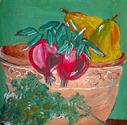 Pear Art Mixed Media Prints - Pomegranates Pears And Parsley Print by Julie Butterworth