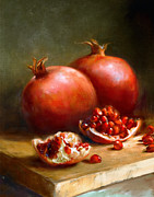 Fruit Painting Posters - Pomegranates Poster by Robert Papp