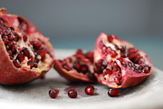 Red Fruit Framed Prints - Pomegranates Framed Print by Shawna Lemay