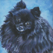 Pomeranian Framed Prints - Pomeranian black Framed Print by Lee Ann Shepard
