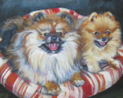 Pomeranian Framed Prints - Pomeranian friends Framed Print by Lee Ann Shepard