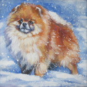 Pomeranian Posters - pomeranian in the Snow Poster by Lee Ann Shepard