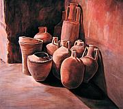 Water Vessels Paintings - Pompeii - Jars by Keith Gantos