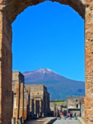 Archways Posters - Pompeii and Vesuvius Poster by Al Bourassa