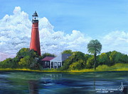 Ocala Painting Framed Prints - Ponce Inlet Lighthouse Framed Print by Larry Whitler