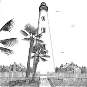 Florida House Drawings Posters - Ponce Inlet Lighthouse Poster by Tim Murray