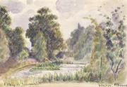 Graphite Pencil Posters - Pond at Kew Gardens Poster by Camille Pissarro