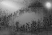 Abstract.trees Drawings Prints - Pond By Moonlight Print by John Krakora