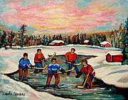 Snowfalling Posters - Pond Hockey Countryscene Poster by Carole Spandau