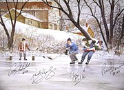 Hockey Mixed Media - Pond Hockey by D R Laird