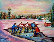 Hockey In Montreal Paintings - Pond Hockey Warm Day by Carole Spandau