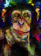 Pondering Prints - Pondering Chimp Print by Christopher Lane