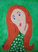 Fineartamerica.com Paintings - Pondering Redhead by Jeannie Atwater Jordan Allen