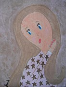 Jordan Art Paintings - Pondering Sandy Haired Girl by Jeannie Atwater Jordan Allen
