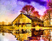 Barn Digital Art Prints - PondReflection Print by Anthony Caruso