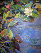 Lily Mixed Media Posters - Pondscape Poster by Marty Husted