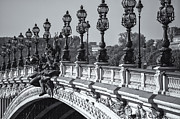 White Arched Bridge Prints - Pont Alexander III BW Print by Clarence Holmes