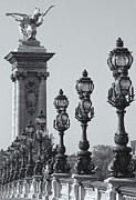 White Arched Bridge Prints - Pont Alexander III Detail BW Print by Clarence Holmes
