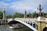Bridge Framed Prints - Pont Alexander III Framed Print by Elena Elisseeva