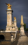 Monument Posters - Pont Alexander III in Paris before storm Poster by Elena Elisseeva