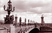 Bridge Prints Prints - Pont Alexandre III Bridge Print by Kathy Yates