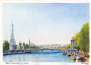 Barges Drawings Posters - Pont Alexandre III or Alexander the Third Bridge over the River Seine in Paris France Poster by Dai Wynn