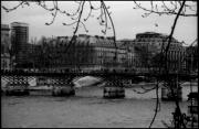 Pont Des Arts Posters - Pont des Arts Paris Seine River Bridge Black and White Photographs Poster by Tommy Turner