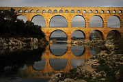 Built Structure Photo Prints - Pont Du Gard Print by Boccalupo Photography