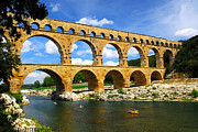 Historical Sight Framed Prints - Pont du Gard in southern France Framed Print by Elena Elisseeva