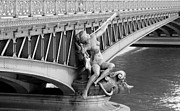 Nude Sculptures Framed Prints - Pont Mirabeau Paris Framed Print by Andrew Fare