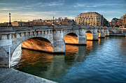Ile De France Framed Prints - Pont-neuf And Samaritaine, Paris, France Framed Print by Romain Villa Photographe