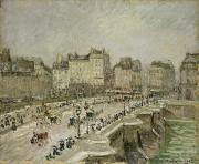 January Painting Prints - Pont Neuf Snow Effect Print by Camille Pissarro