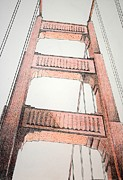 San Francisco Bay Drawings Prints - Pont Rouge Print by Devan Gregori