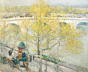 Horse And Carriage Prints - Pont Royal Paris Print by Childe Hassam
