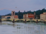 Twilight Painting Framed Prints - Pont Vecchio landscape Framed Print by Lynne Reichhart