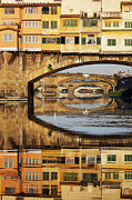Office Space Metal Prints - Ponte Vecchio Crossing the River A Metal Print by Jeremy Woodhouse