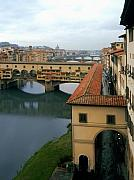 Italian Shopping Framed Prints - Ponte Vecchio Framed Print by Traveler Scout