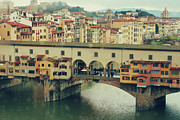 Florence Framed Prints - Ponte Vecchio On Rainy Day Framed Print by Irene Lamprakou