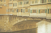 Brick Wall Prints - Ponte Vecchio Over Arno River Print by Gil Guelfucci