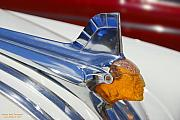 Blue Car Framed Prints - Pontiac Hood Ornament Framed Print by Larry Keahey