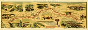 Pony Drawings Framed Prints - Pony Express Map Framed Print by Pg Reproductions