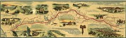 19th Century Prints - Pony Express Route April 1860 - October Print by Everett