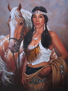 Native American Painting Metal Prints - Pony Maiden Metal Print by Harvie Brown