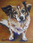 Papillon Dog Paintings - Poochie by Julie Dalton Gourgues