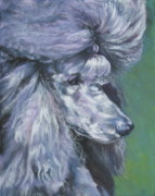 Standard Paintings - Poodle silver by Lee Ann Shepard