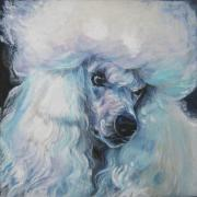 Standard Paintings - Poodle white standard by L A Shepard