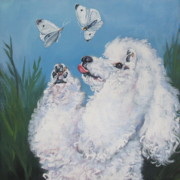White Poodle Framed Prints - Poodle with butterflies Framed Print by Lee Ann Shepard