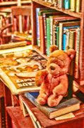 Stuffed Bear Prints - Pooh and Books Print by Linda Phelps