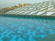 Northern Africa Digital Art Prints - Pool and Roof of Alexandria Library Print by Ruth Hager