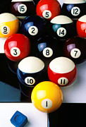 Round Metal Prints - Pool balls on tiles Metal Print by Garry Gay
